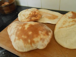 Pitta breads puffed and deflated